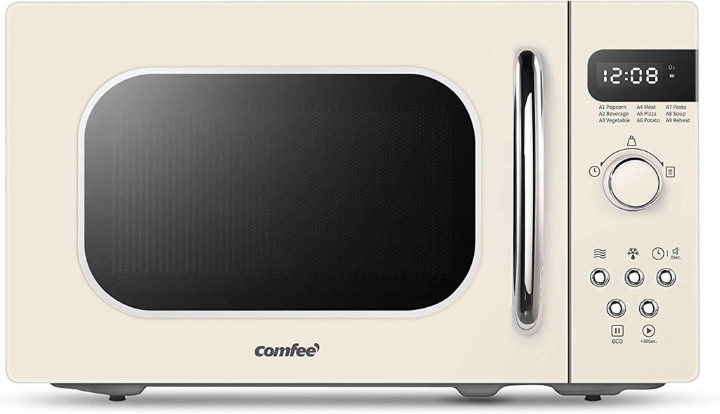 COMFEE' AM720C2RA-A Retro Style Countertop Microwave Oven with 9 Auto Menus Position-Memory Turntable