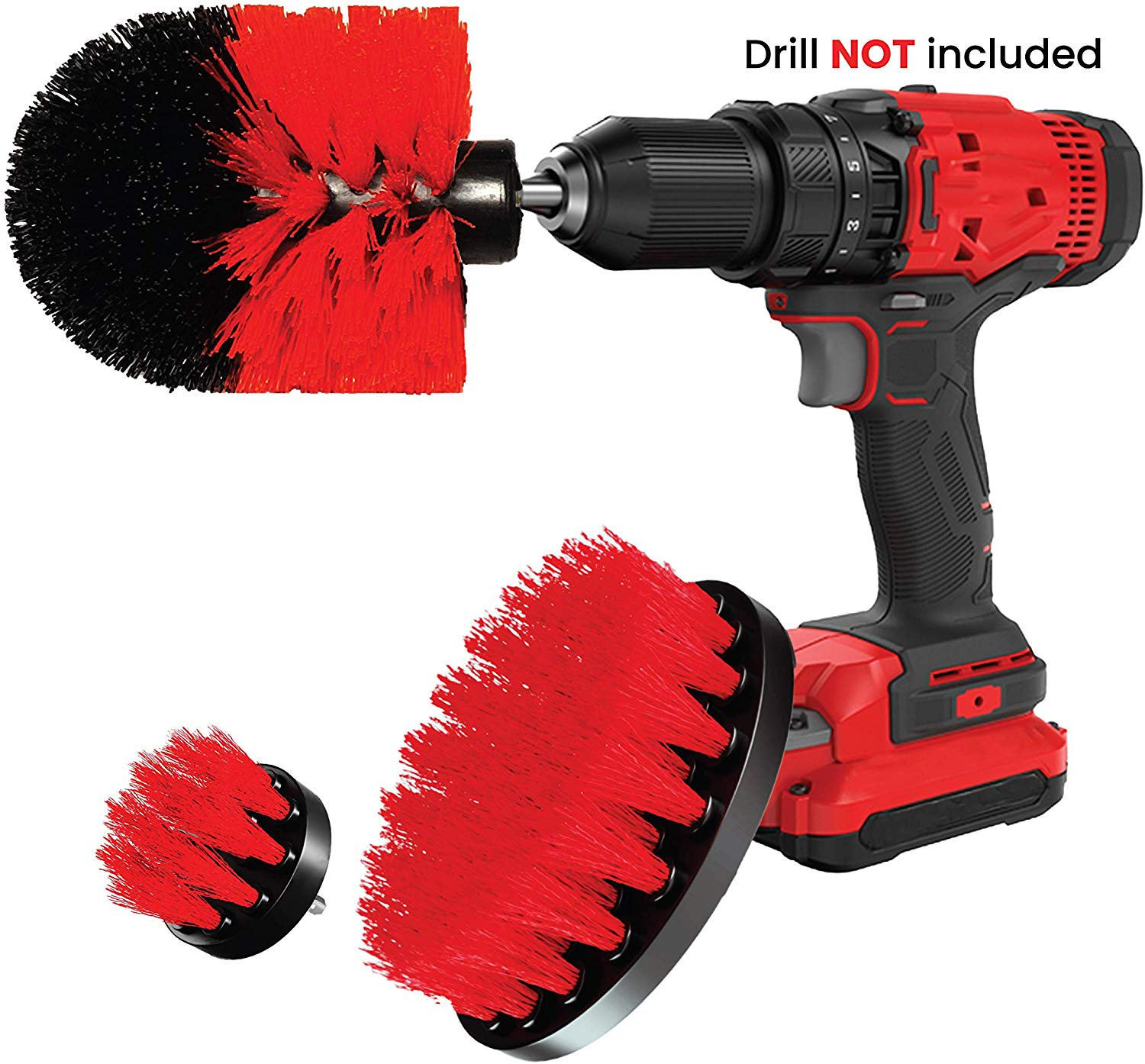 Drill Brush Set Attachment Kit - Pack of 3