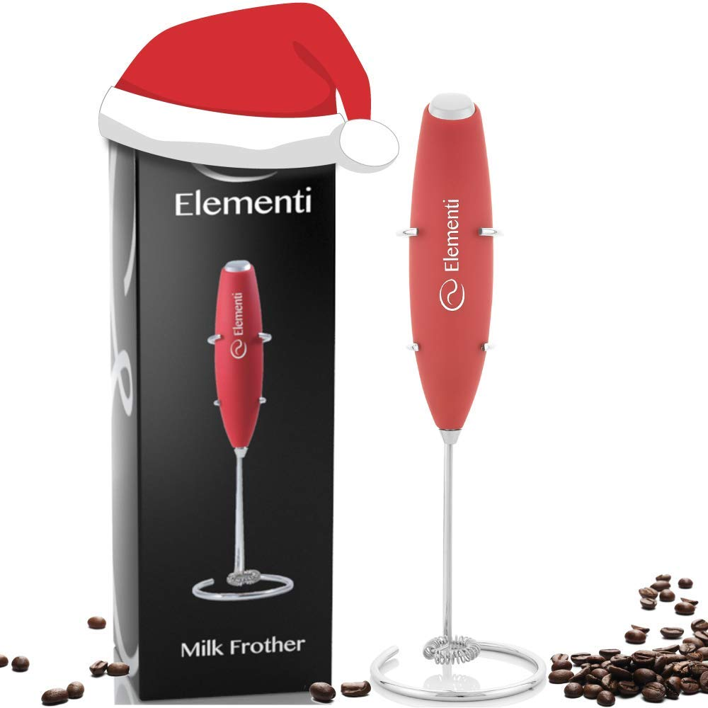 Elementi Milk Frother with Stainless Steel Whisk & Stand