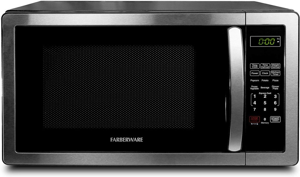 Farberware FMO11AHTBKB 1.1 Cu. Ft. Stainless Steel Countertop Microwave Oven With 6 Cooking Programs, LED Lighting, 1000 Watts