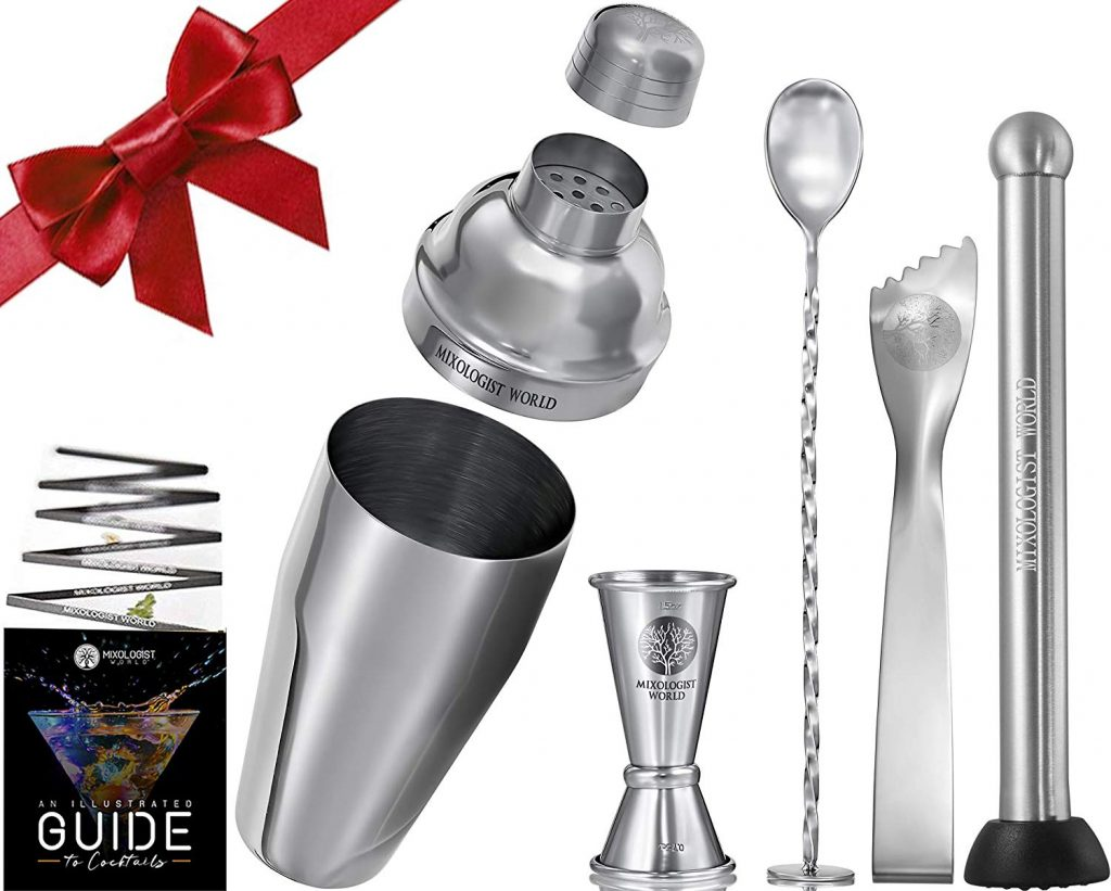 Mixology Cocktail Shaker Bartender Set - 5 pieces 24 oz Bar Tool Kit Accessories - 304 Stainless Steel Drink Mixer Built-in Strainer, Muddler, Mixing Spoon, Measuring Jigger, Ice Tong, Recipes Booklet