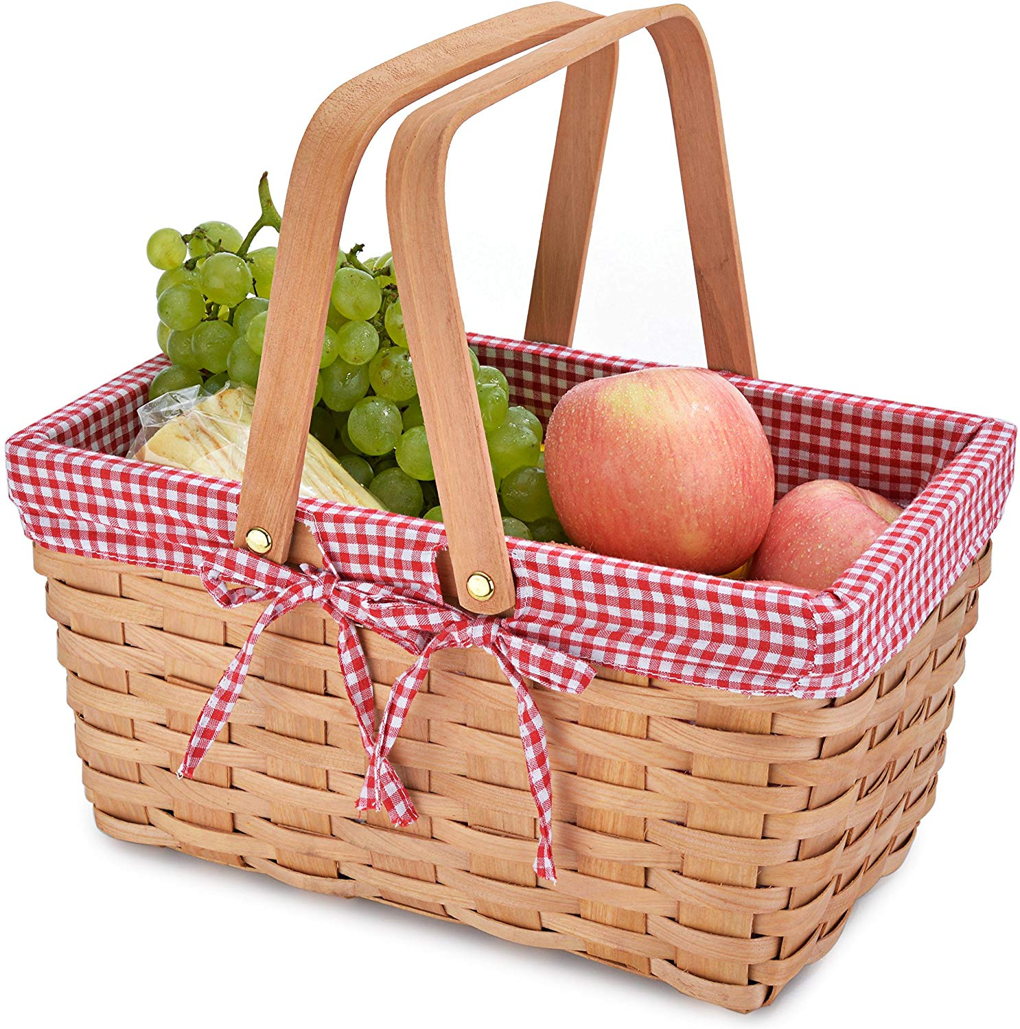 Picnic Basket Natural Woven Woodchip with Double Folding Handles