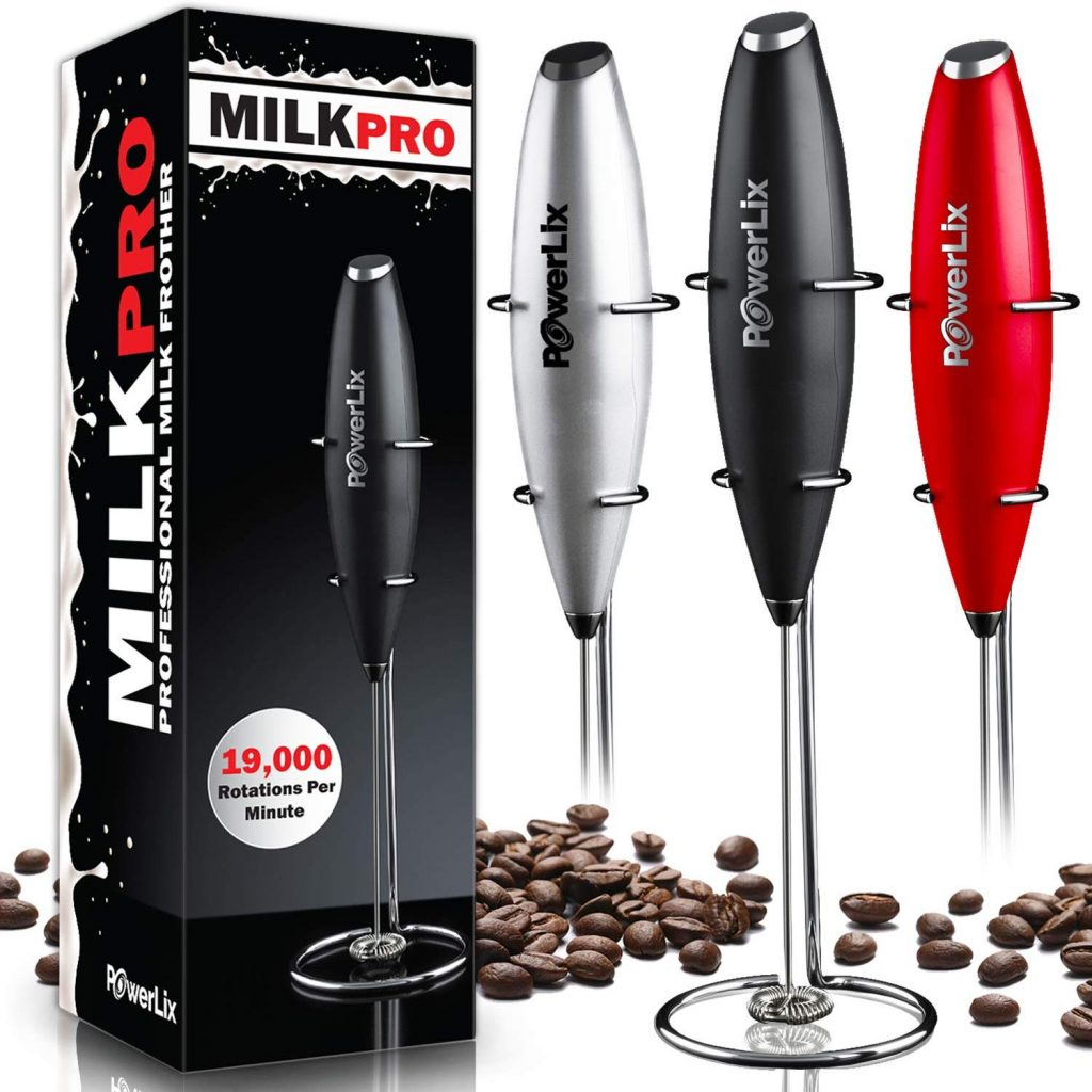 PowerLix Milk Frother Handheld Battery Operated Electric Foam Maker For Coffee, Latte, Cappuccino, Hot Chocolate, Durable Drink Mixer With Stainless Steel Whisk, Stainless Steel Stand Include