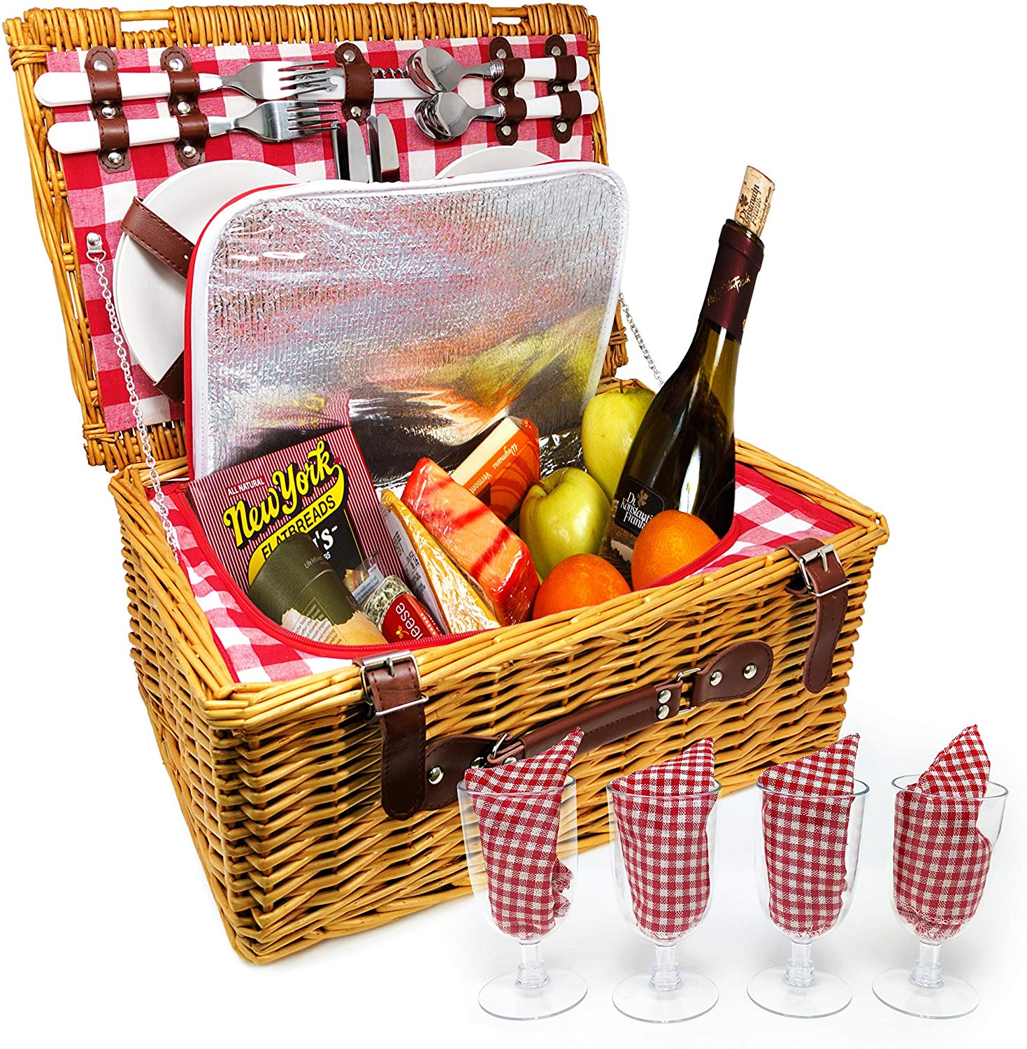 Upgraded 4 Person XL Picnic Basket