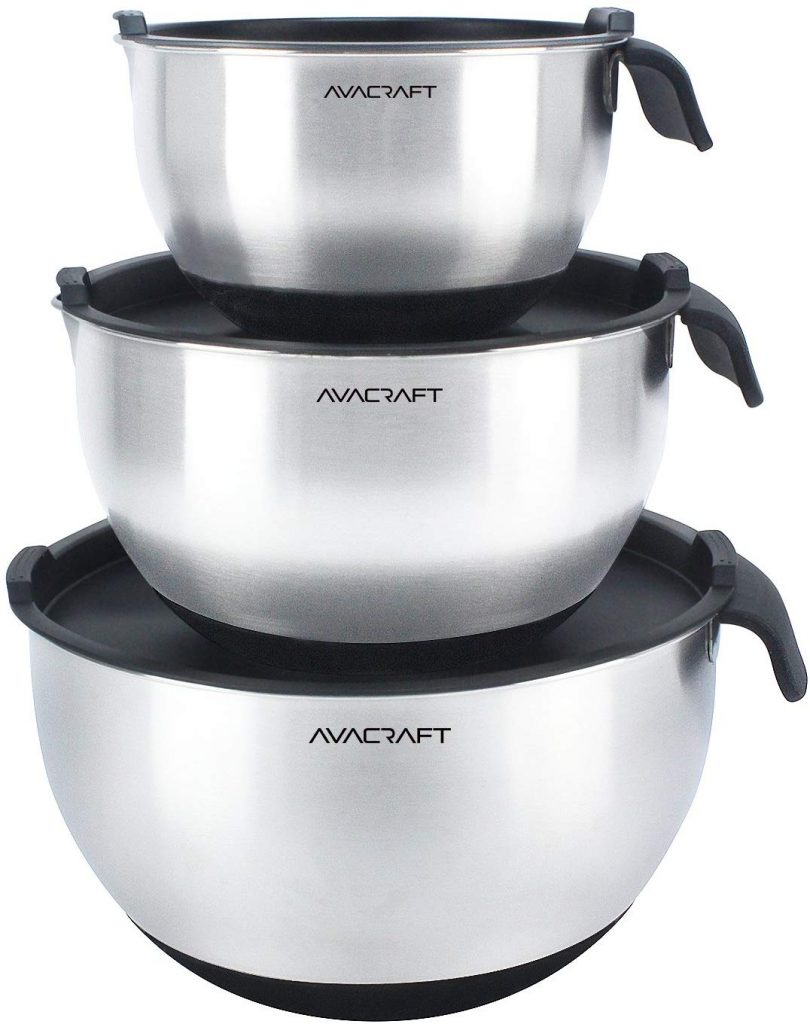 AVACRAFT 18/10 Top Rated Stainless Steel Mixing Bowls with Lids, non slip silicone base bowls