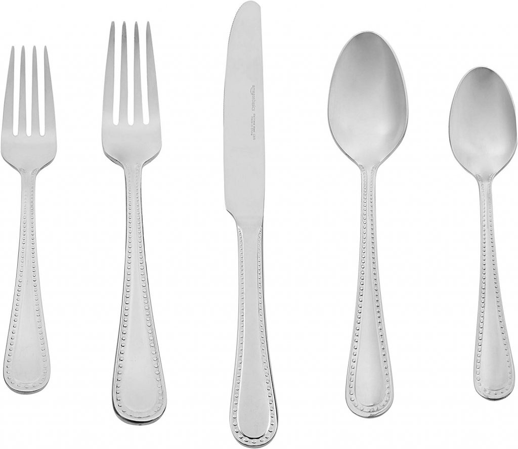 AmazonBasics 20-Piece Stainless Steel Flatware Silverware Set with Pearled Edge, Service for 4