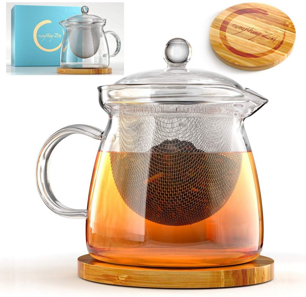 Glass Teapot with Infuser and Bamboo Trivet
