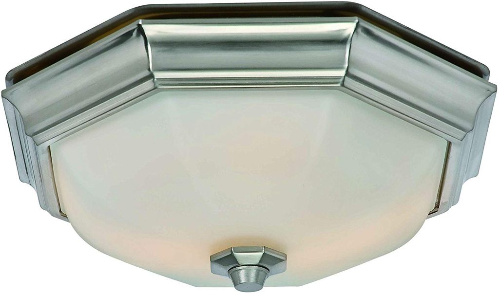 Hunter 80213 Huntley Decorative Bathroom Ventilation Fan with Light (LED Bulbs Included), Brushed Nickel
