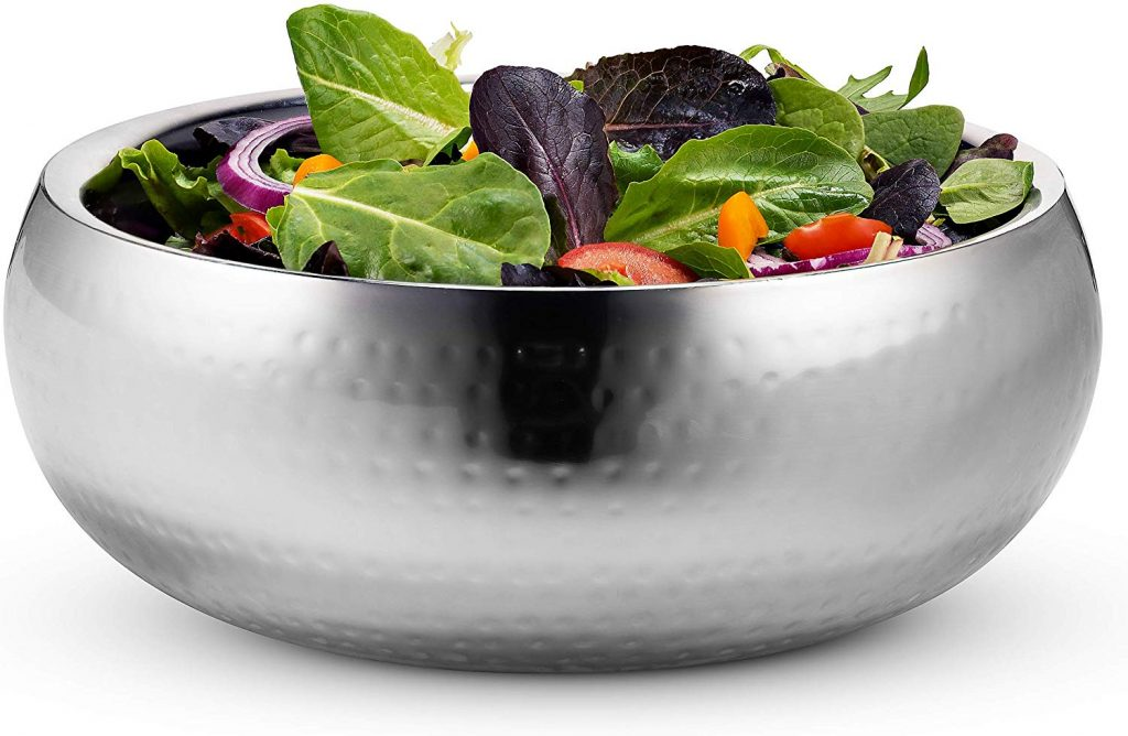 KooK Double Wall Serving Bowl - 11 Inch Hammered Style - Stainless Steel