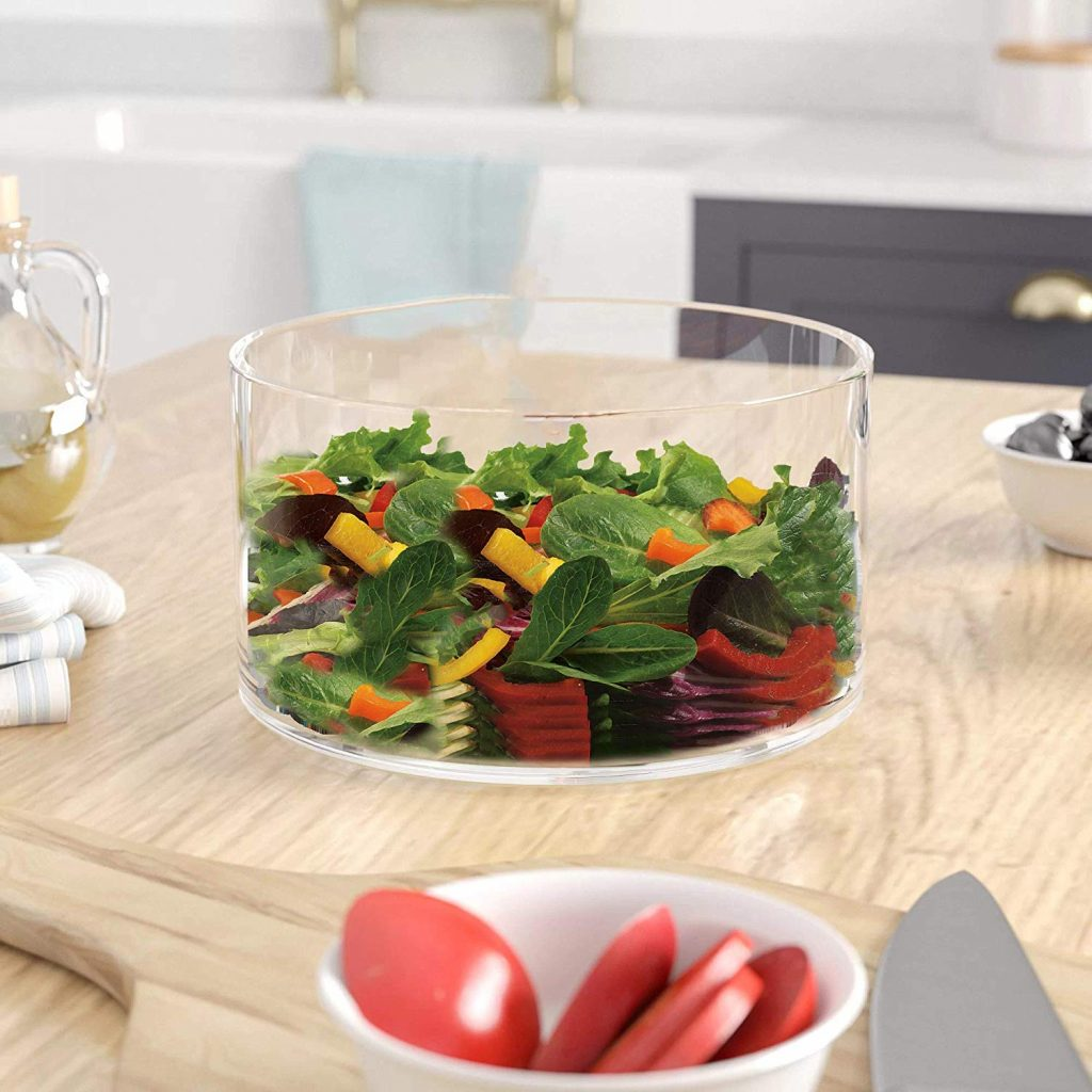 Large Glass Salad Bowl - Mixing and Serving Dish - 120 Oz. Clear Glass Fruit and Trifle Bowl