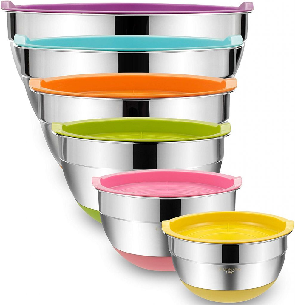 Mixing Bowls with Airtight Lids, 6 piece Stainless Steel Metal Bowls by Umite Chef