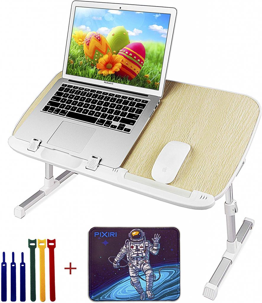 Pixiri Laptop Stand for Bed with Mouse Pad and Tie