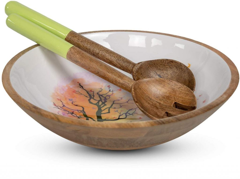 Wooden Salad Bowl Set with Servers - Large 12 Inch Mango Wood Bowl with Spoons for Soups, Fruit, Pasta and Mixed Salads