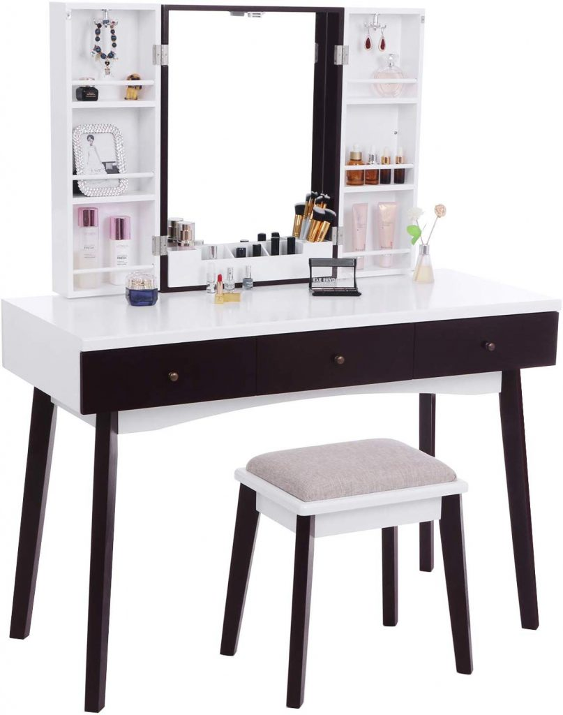 BEWISHOME Vanity Set with Mirror FST05W