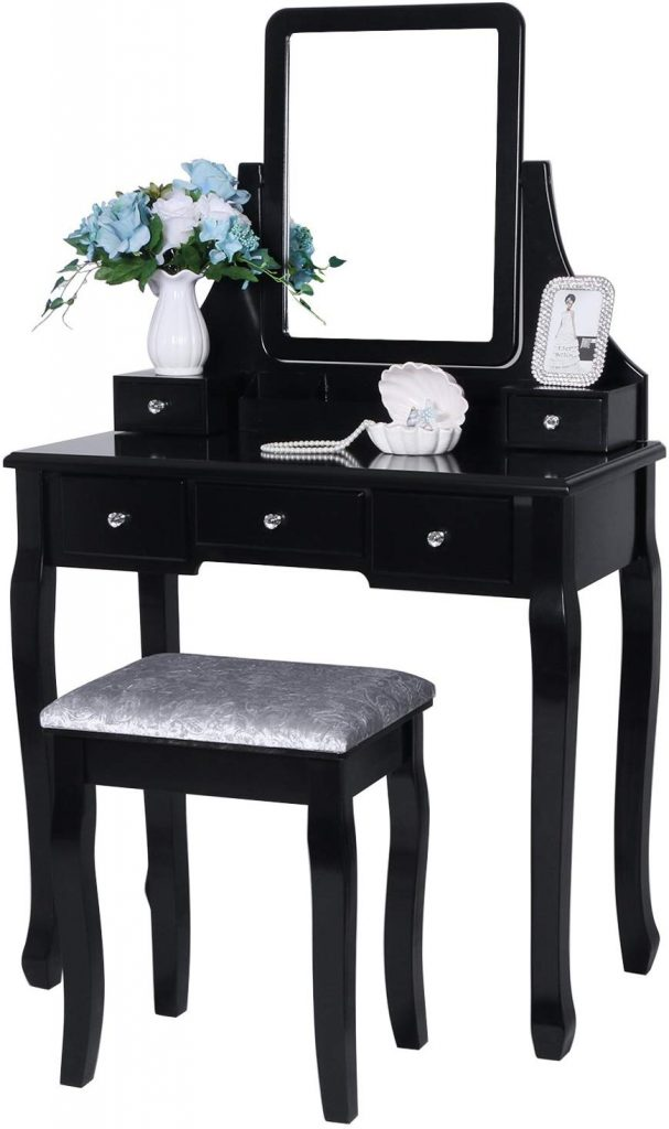 BEWISHOME Vanity Table Set Black FST01H