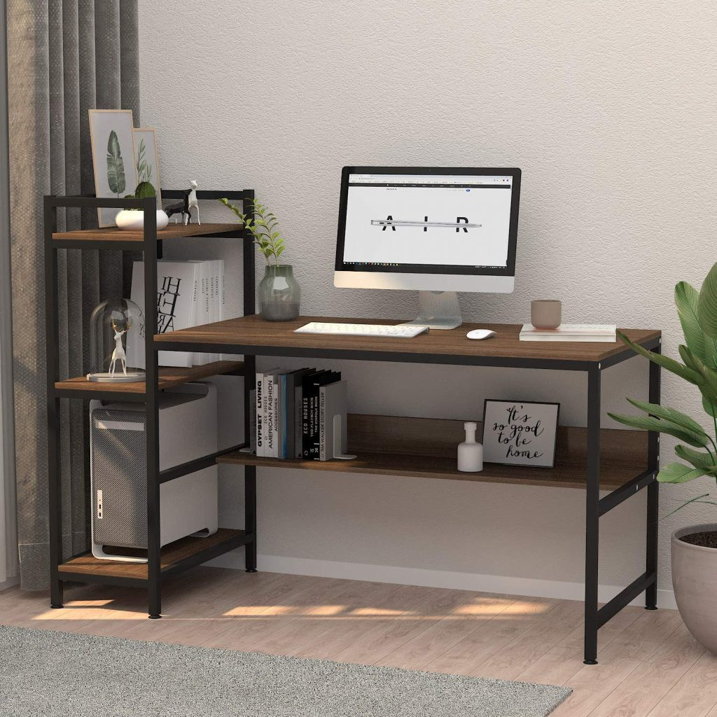 Computer Desk with 4 Tier Storage Shelves by Yoleo