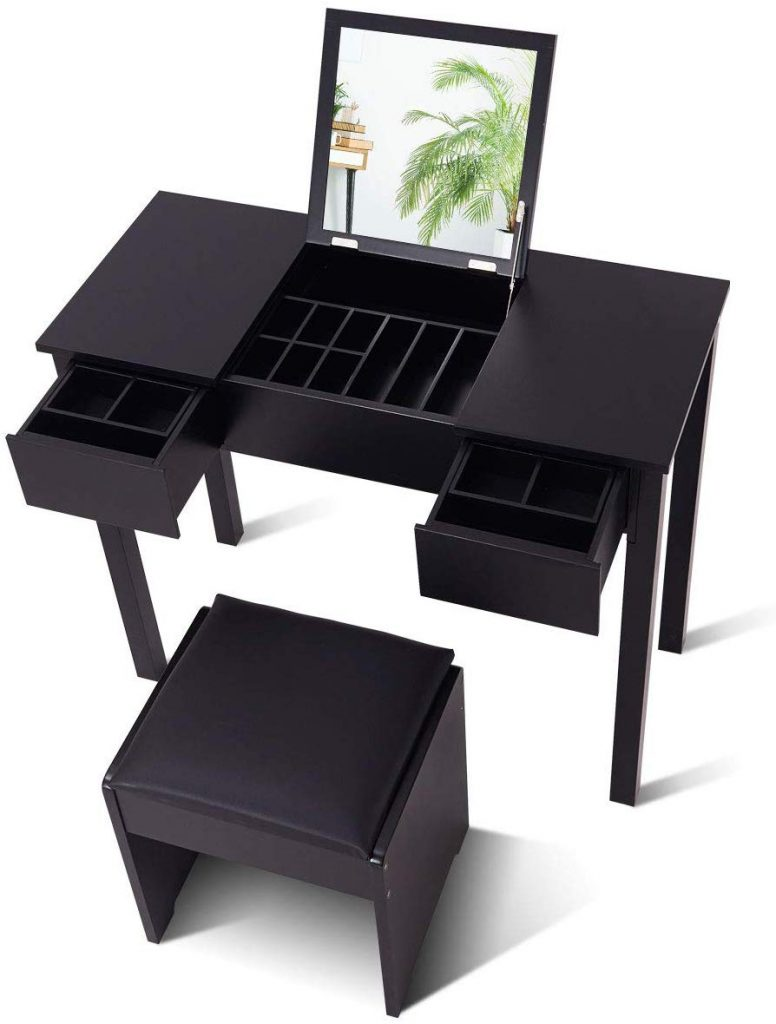 Giantex Vanity Set with Flip Top Mirror and Cushioned Stool