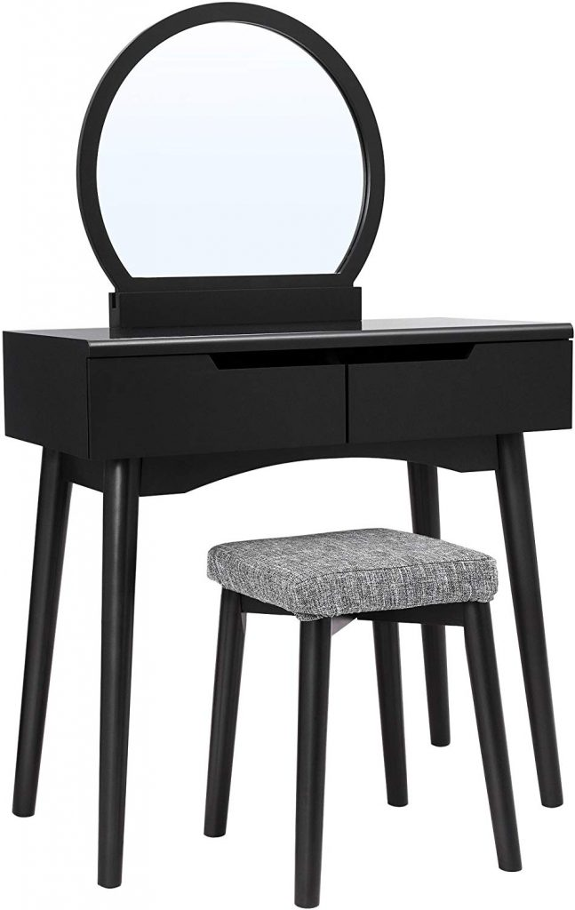VASAGLE Vanity Set with Round Mirror, Black URDT11BK
