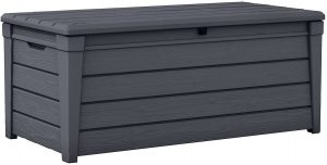 Keter Brightwood 120 Gallon Resin Large Deck Box Grey