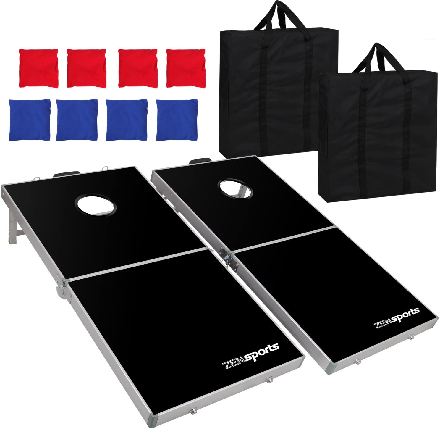 ZENY Portable 4' x 2' Aluminum Cornhole Game Set