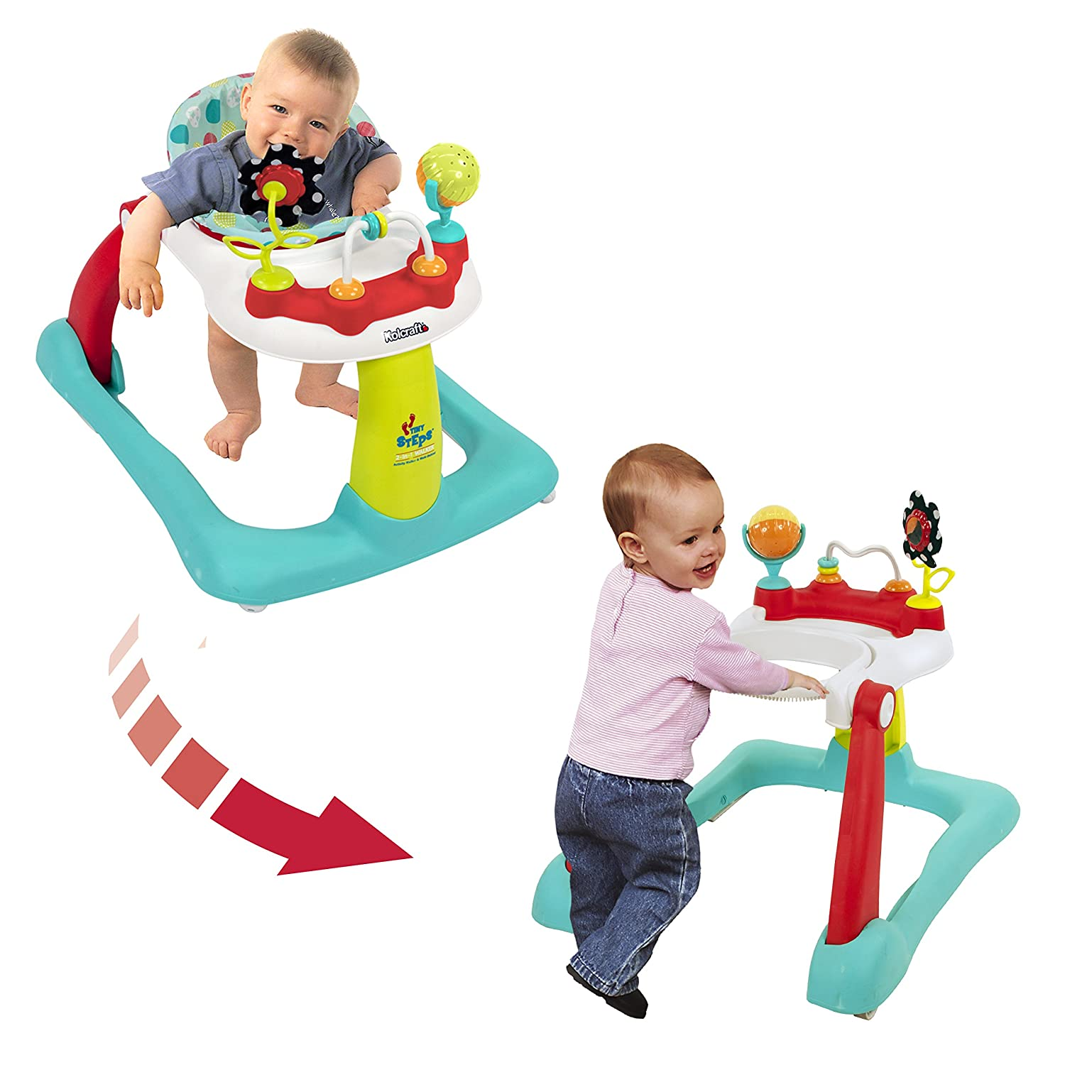 Kolcraft Tiny Steps 2-in-1 Baby Activity Walker