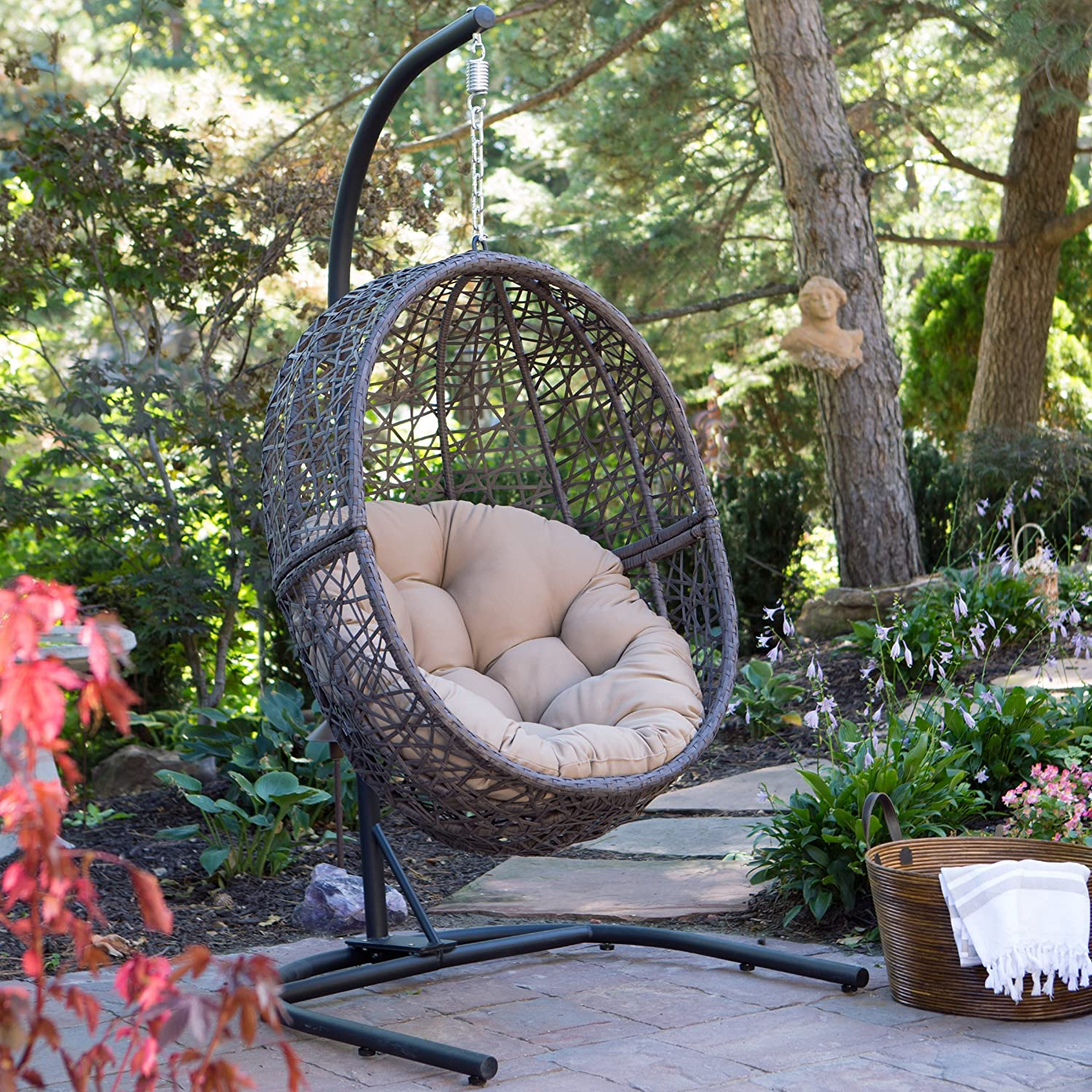 Island Bay Espresso Hanging Egg Chair
