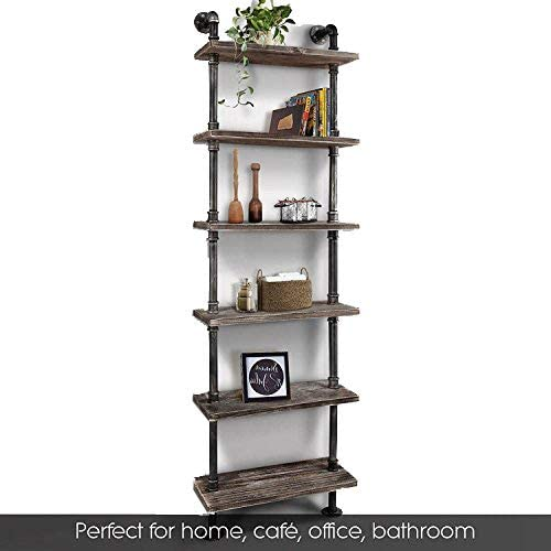 WGX Design for You Industrial 6-Tiers Modern Ladder Shelf Bookcase