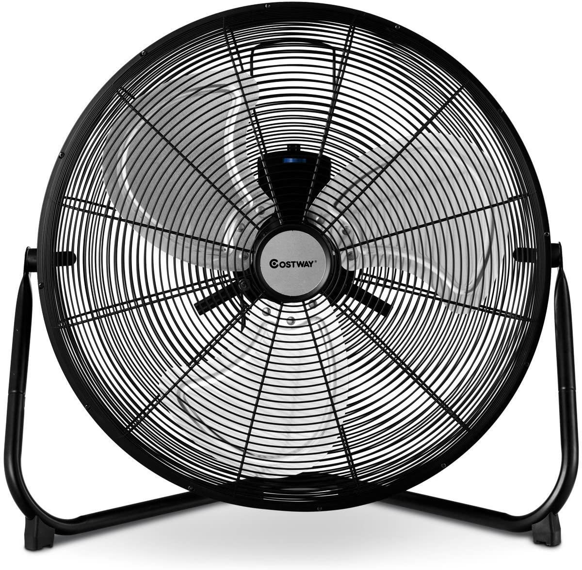 COSTWAY 20-Inch Black Floor Fan w/360° Rotation