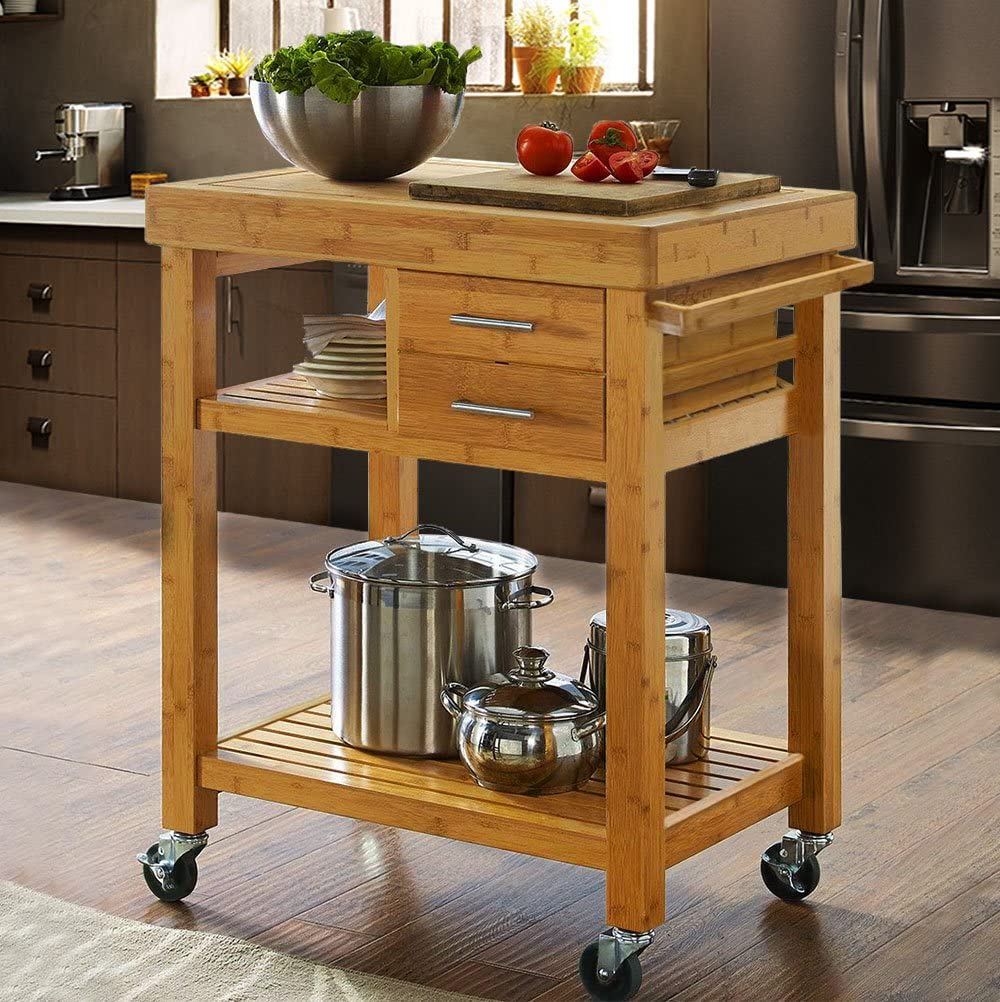 Clevr Rolling Bamboo Wood Kitchen Island Cart Trolley