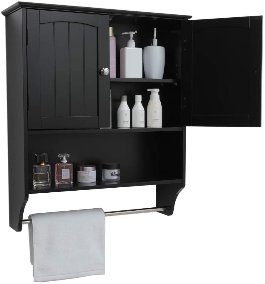 Iwell Black Wall Bathroom Cabinet
