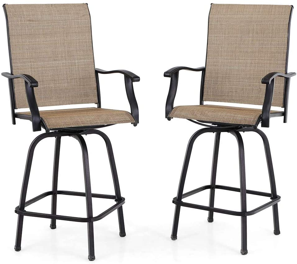 PHI VILLA Swivel Bar Stools All-Weather Patio Furniture