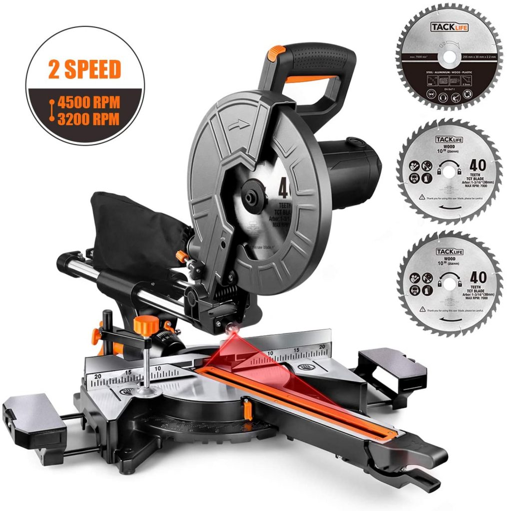 TACKLIFE 10-Inch Sliding Compound Miter Saw