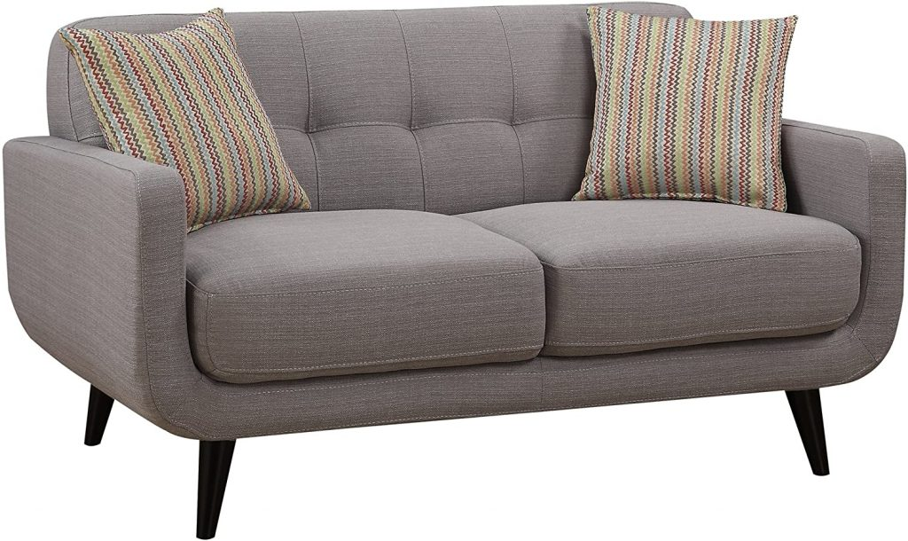 AC Pacific Crystal Collection Upholstered Gray Mid-Century Tufted Loveseat