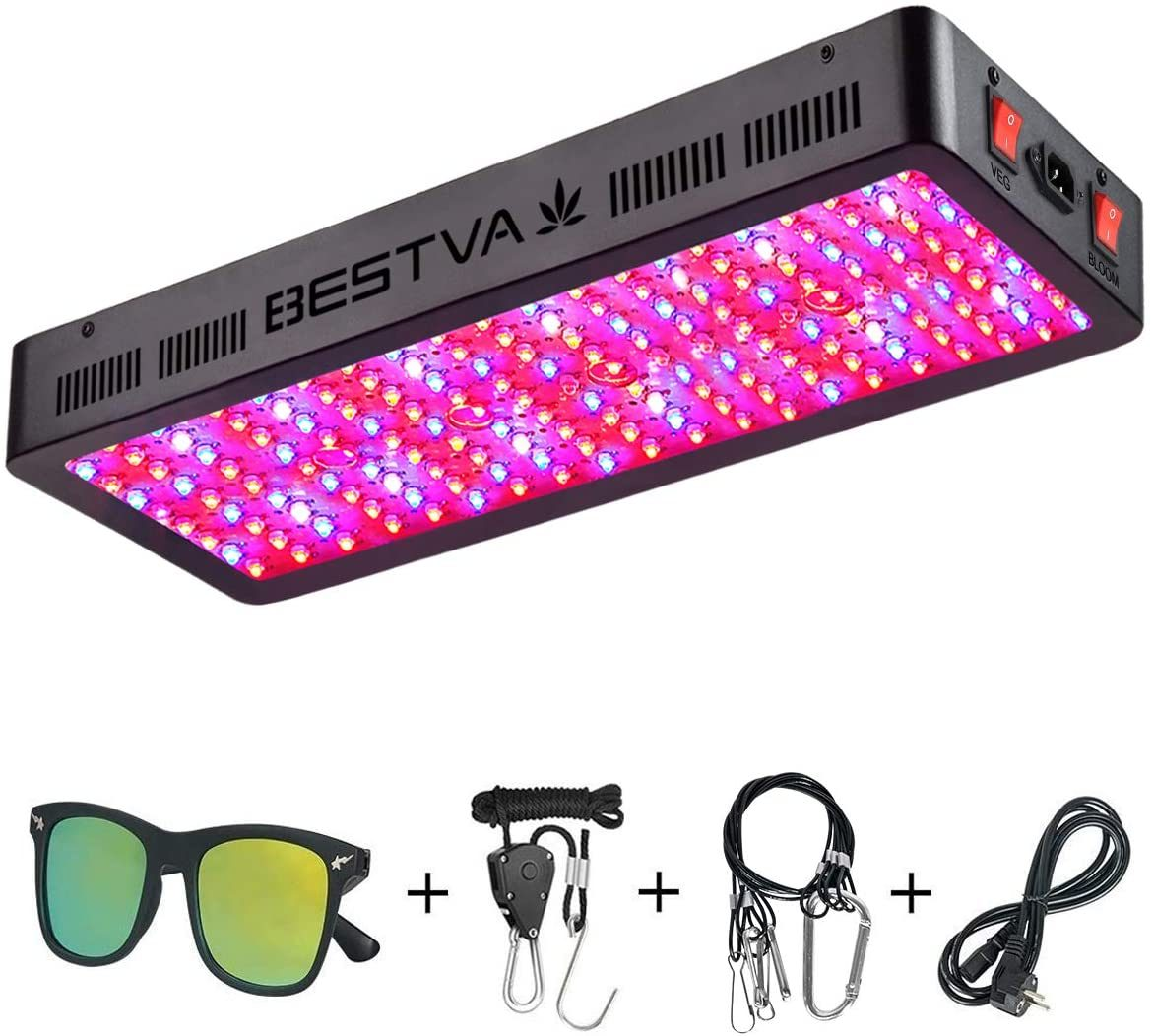 Yajuhoy 1000W LED Grow Light Use with Samsung LM301B LEDs Daisy Chain Dimmable Full Spectrum Grow Lights for Indoor Plants Veg Flower Greenhouse Growing Lamps with MeanWell Driver