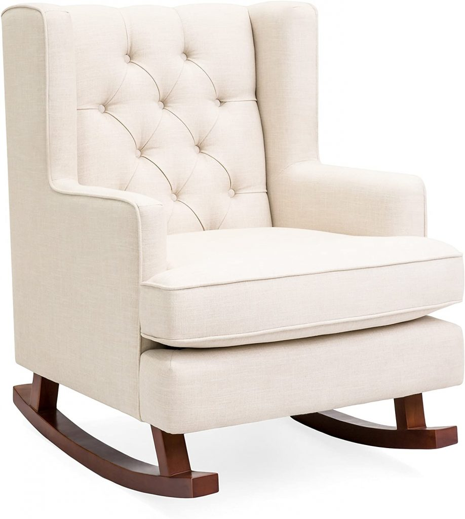 Best Choice Products Tufted Upholstered Wingback Accent Chair Rocker