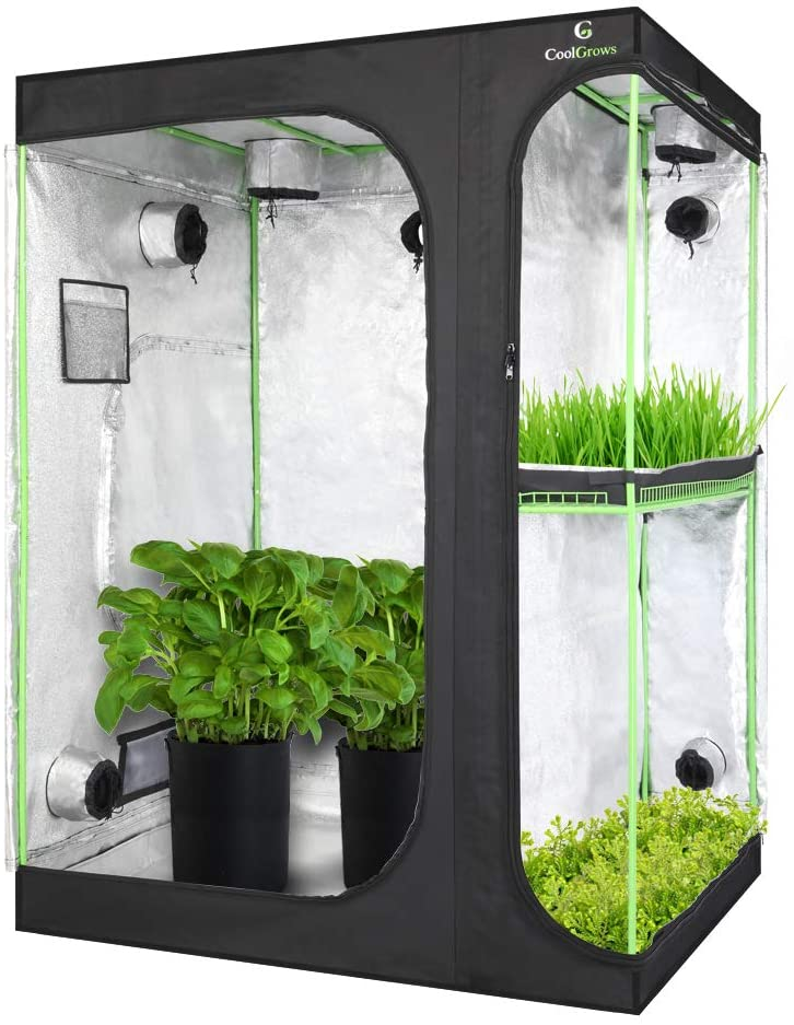 CoolsGrows Upgraded 2-in-1 Mylar Hydroponic Grow Tent
