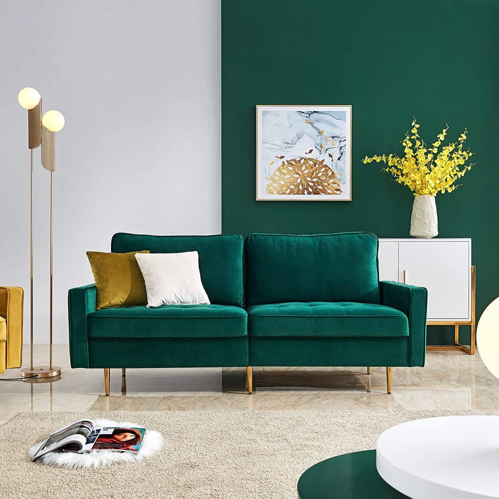Emerald Green Velvet Fabric Sofa Couch
