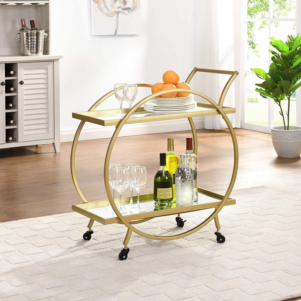 FirsTime & Co. Gold Odessa American Crafted Bar Cart