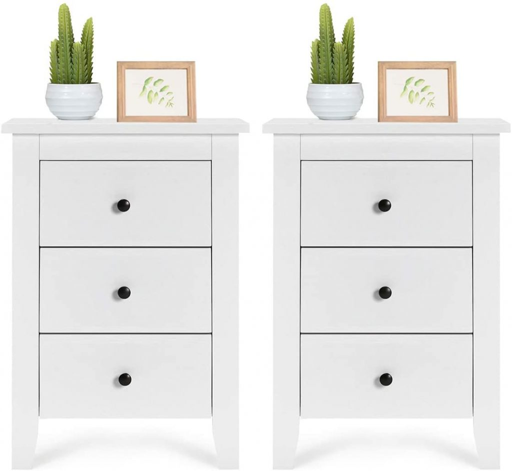 Giantex Nightstand With 3 Drawers Large Storage Space