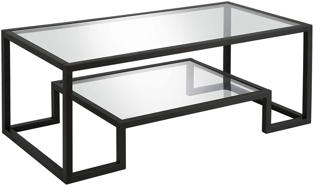 Henn&Hart Modern Geometric-Inspired Glass Coffee Table