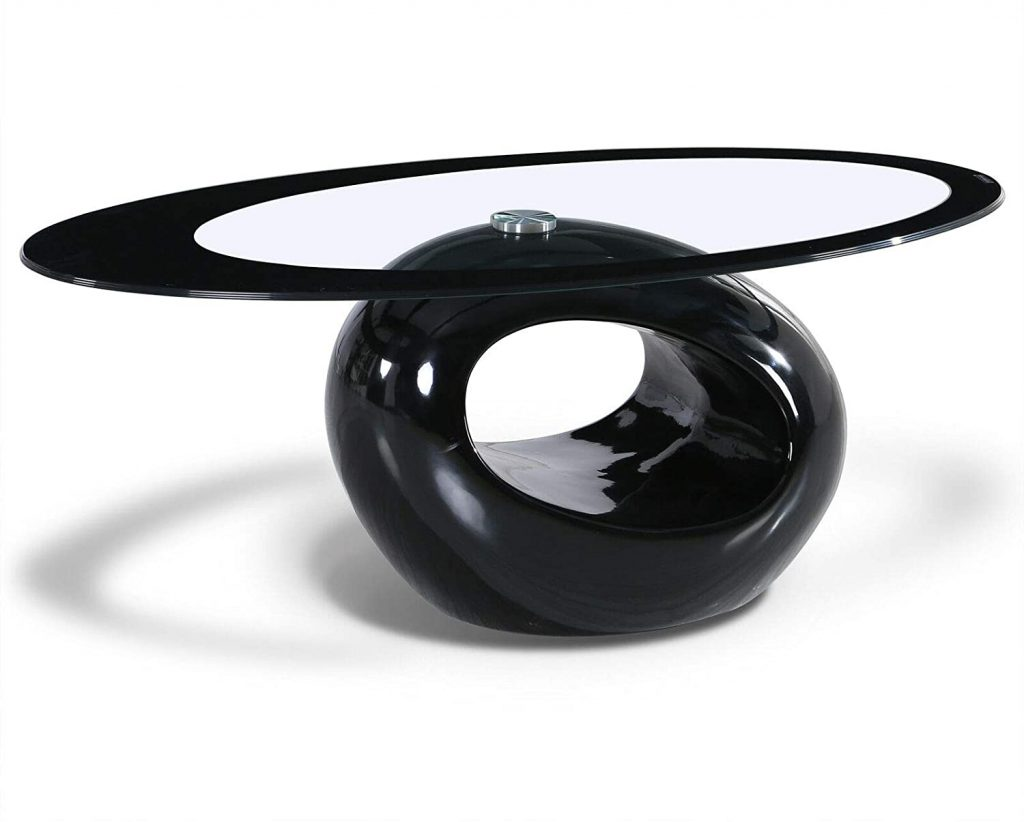 Mecor Black Oval Glass Coffee Table