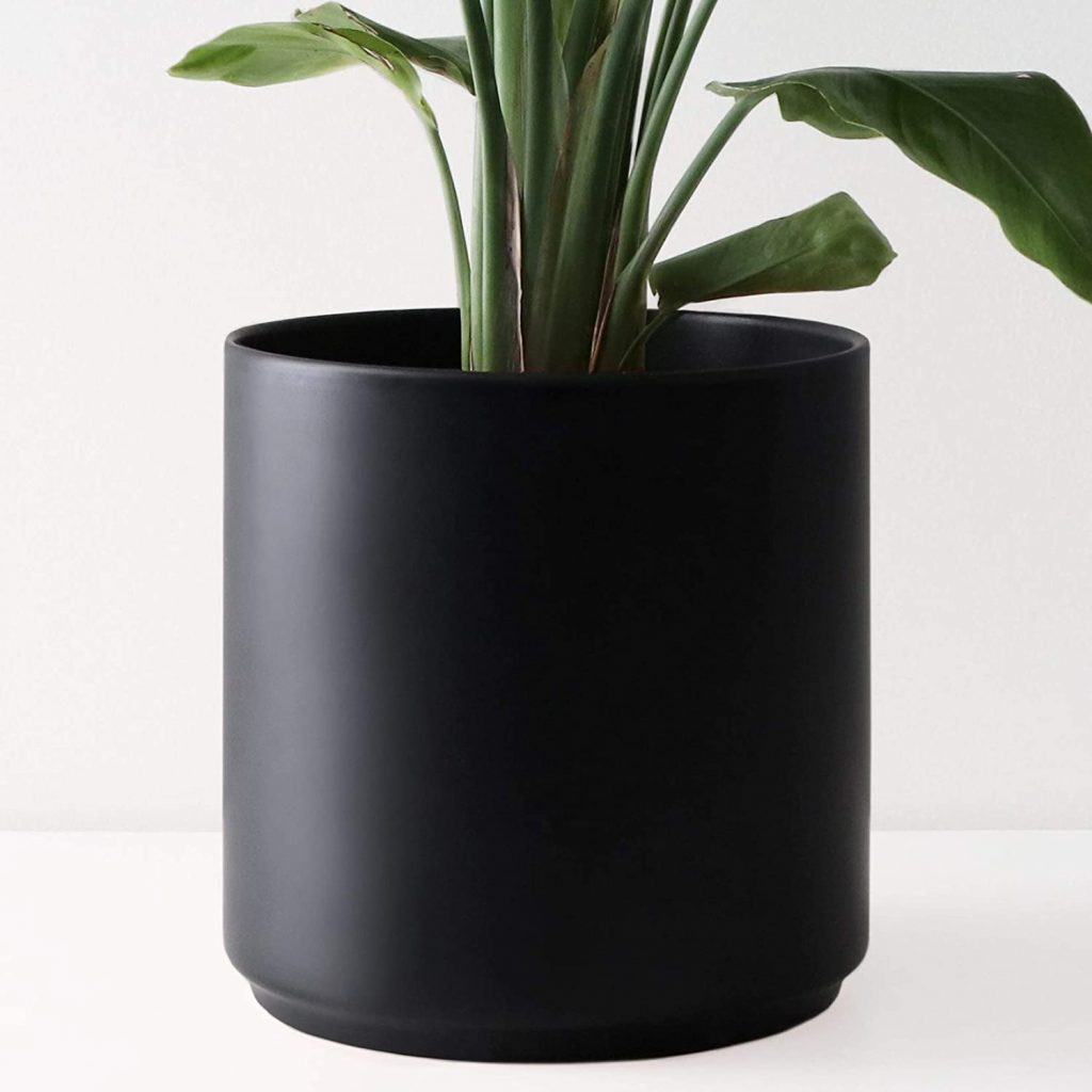 Peach and Pebble Large Black Plant Pot