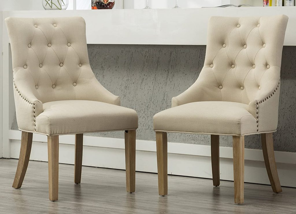 Roundhill Furniture Button Tufted Solid Wood Wingback Hostess Chairs