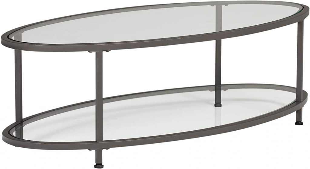 Studio Designs Home Camber Oval Glass Coffee Table