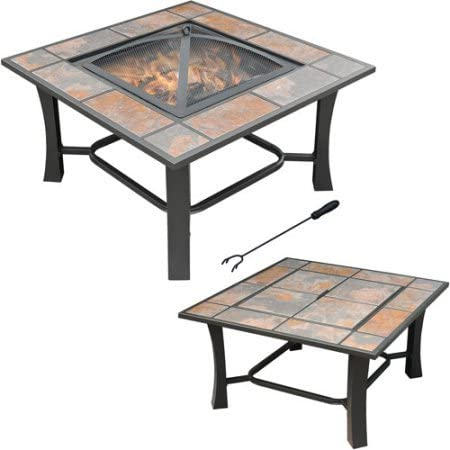 Axxonn 2-in-1 Malaga Square Tile Top Wood Burning Outdoor Fire Pit