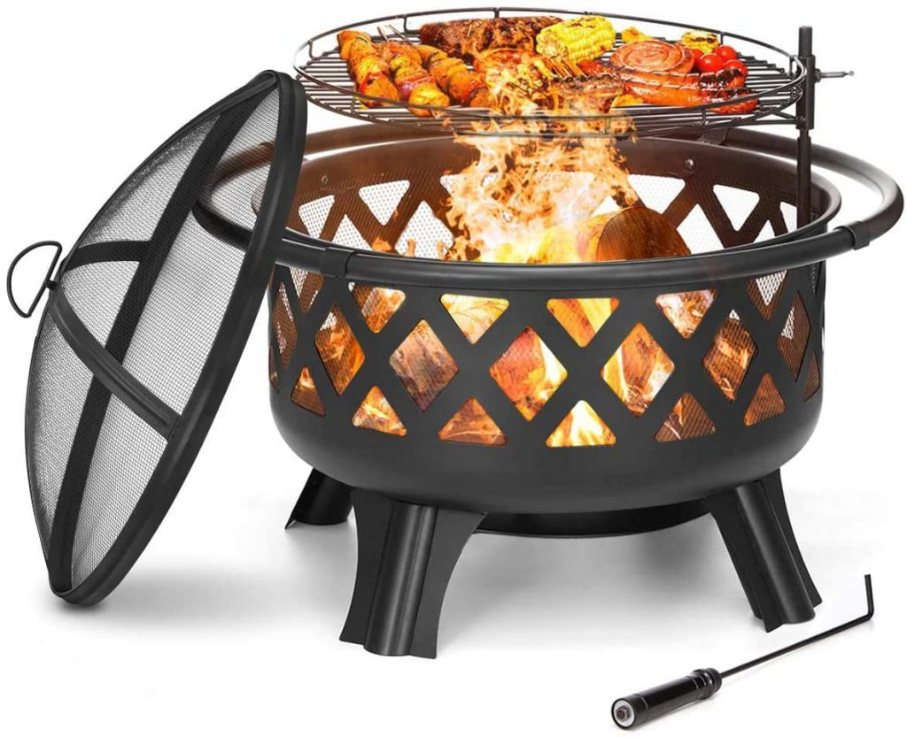 KINGSO 2-in-1 Outdoor Fire Pit with Cooking Grate