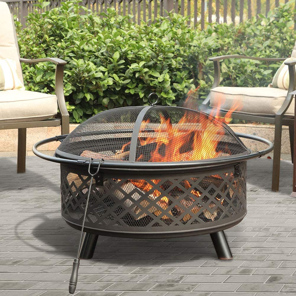 PHI VILLA Fire Pit Large Steel Patio Fireplace