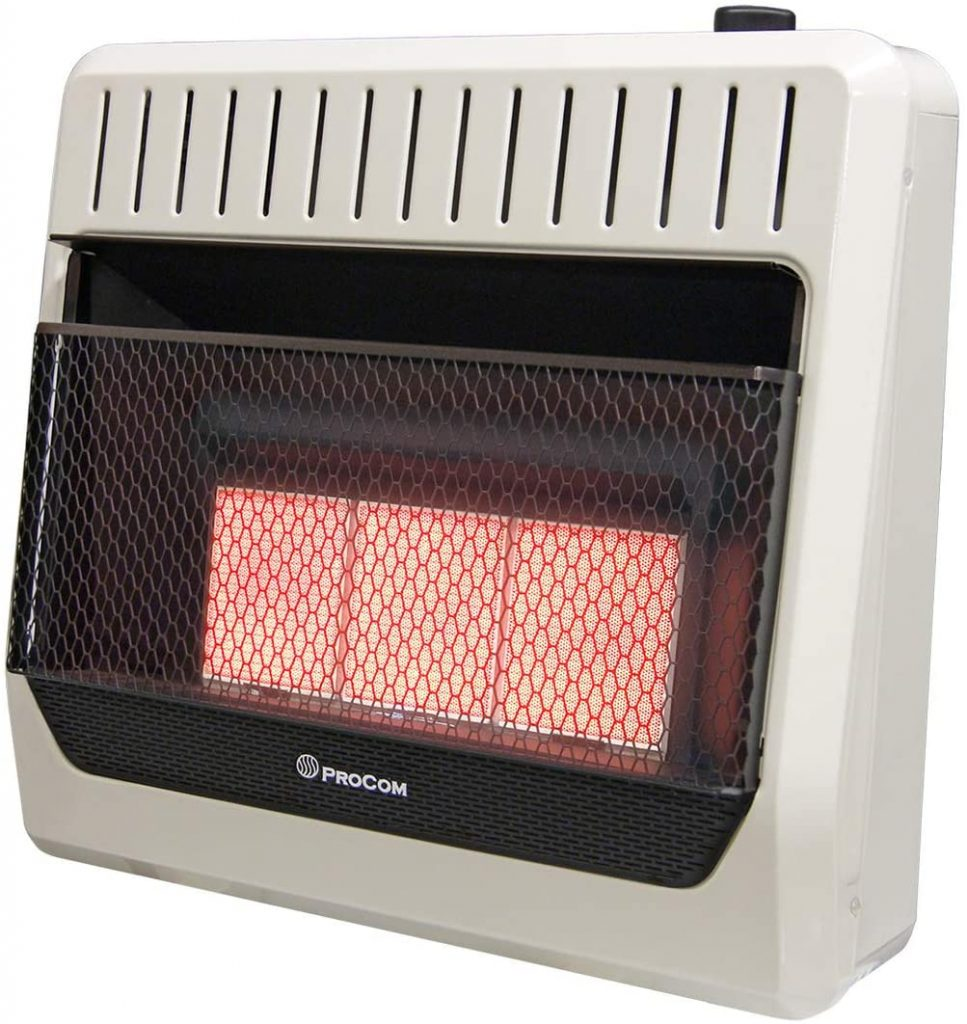 ProCom MG3TIR Dual Fuel Infrared Plaque Heater, White