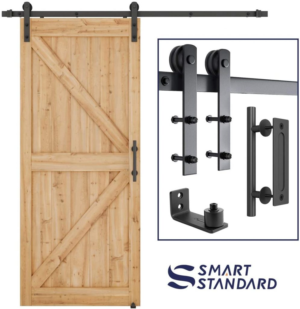 SMARTSTANDARD 6.6 FT Sliding Barn Door Hardware Kit