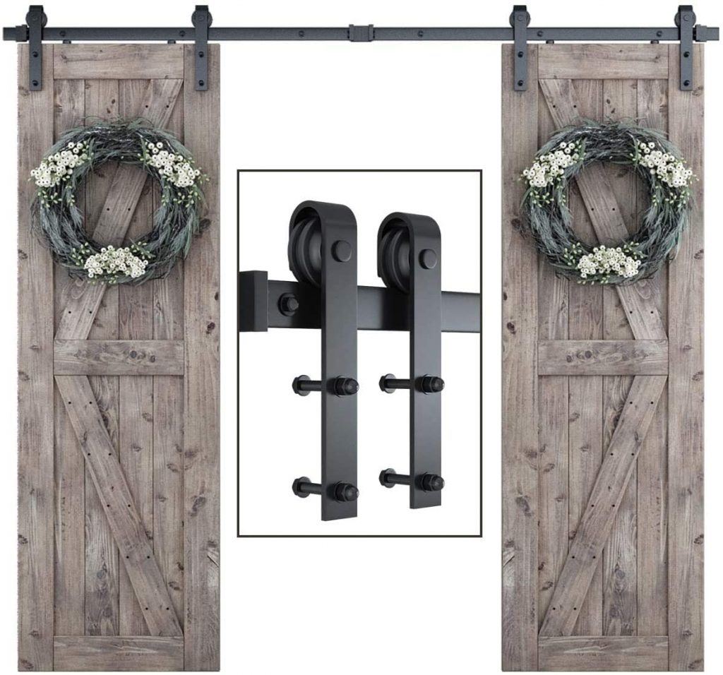 SmartStandard 8ft Double Door Sliding Barn Door Hardware Kit